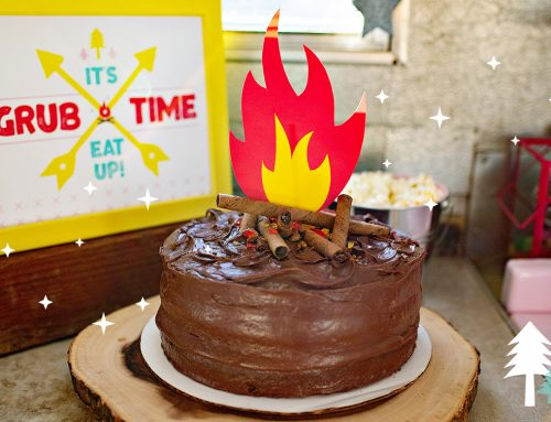 Easy Campfire Cake + Printable Fire Topper