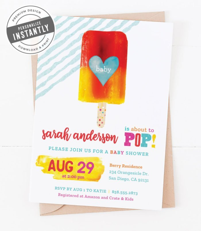 Popsicle Baby Shower Invitation