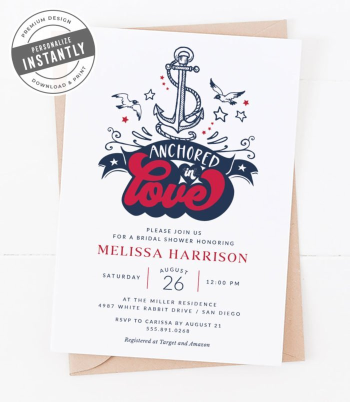 Modern Nautical Bridal Shower Invitation