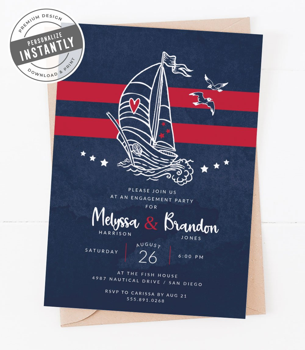 Modern Nautical Engagement Invitation
