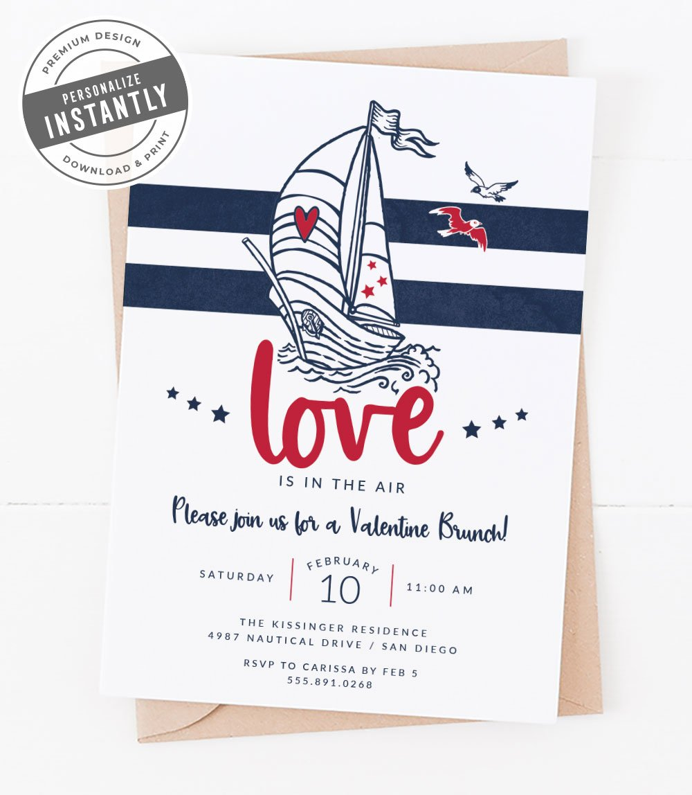 Modern Nautical Valentines Day Invitation