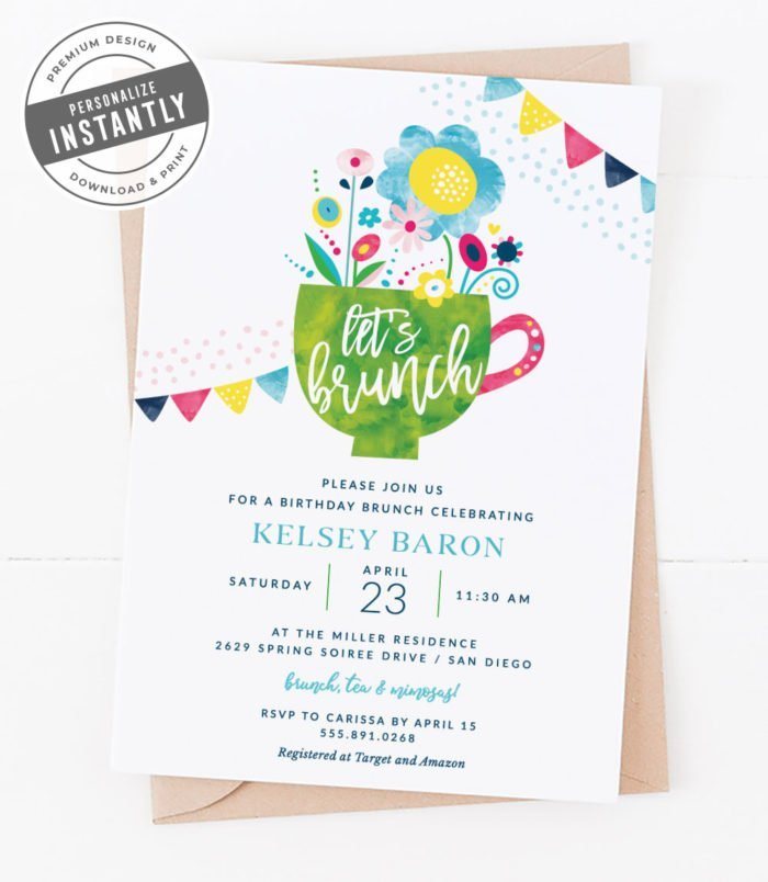 Modern Floral Birthday Invitation