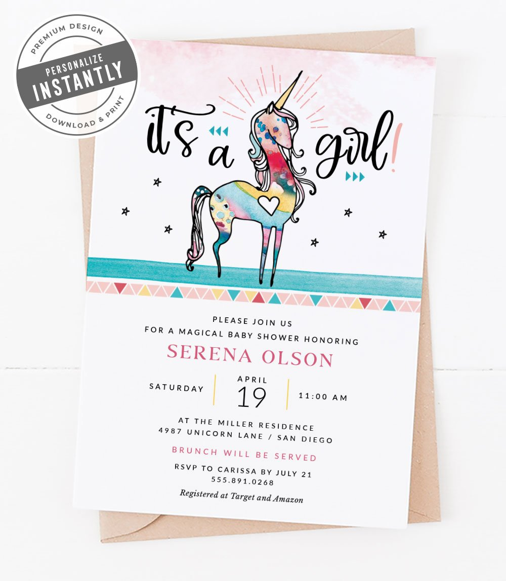 Unicorn Baby Shower Invitation