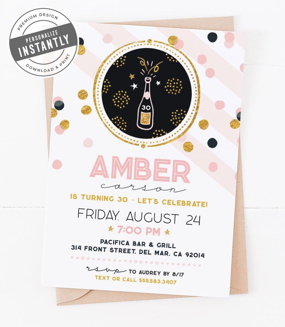 Confetti & Champagne Birthday Invitation