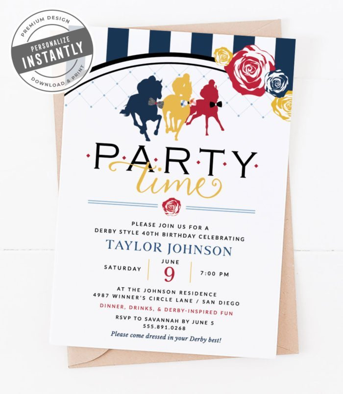 Kentucky Derby Birthday Party Invitation