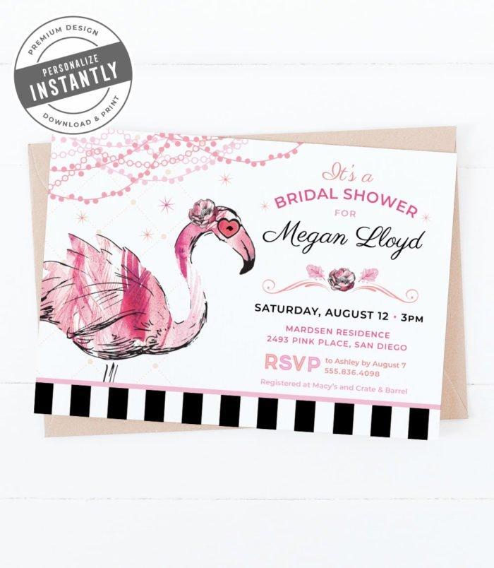 Glam Flamingo Bridal Shower Invitation