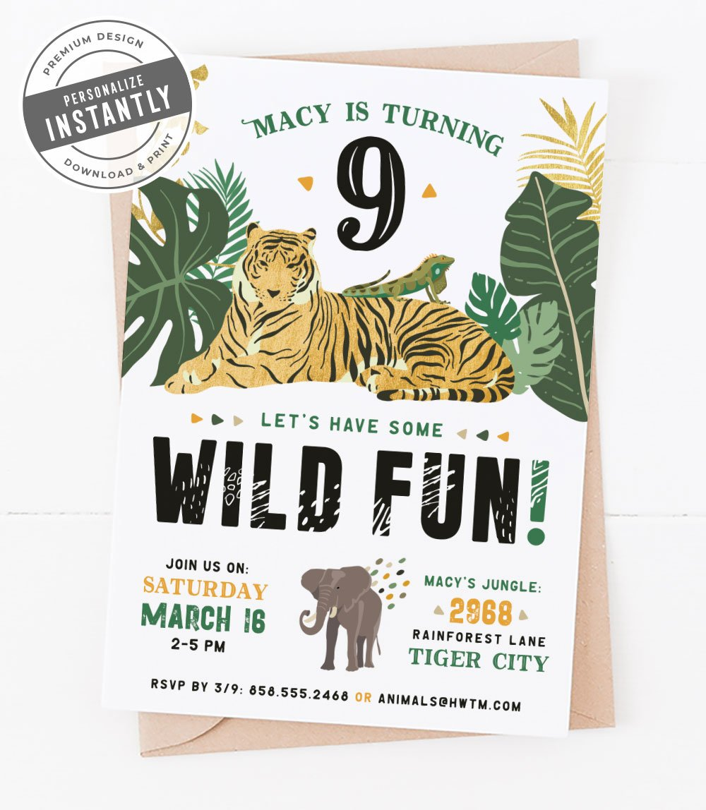 Jungle Safari Birthday Party Invitation