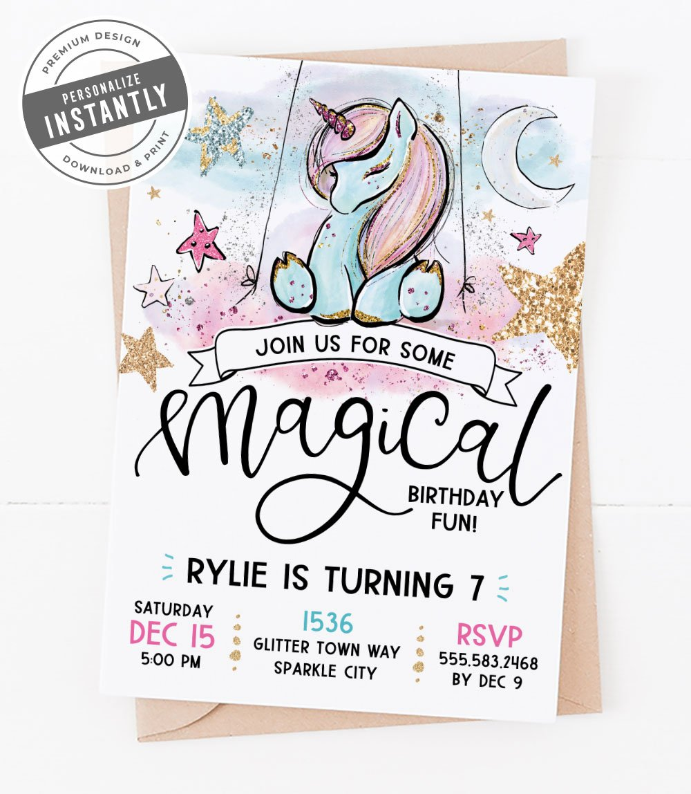 Unicorn and Glitter Birthday Party Invitation