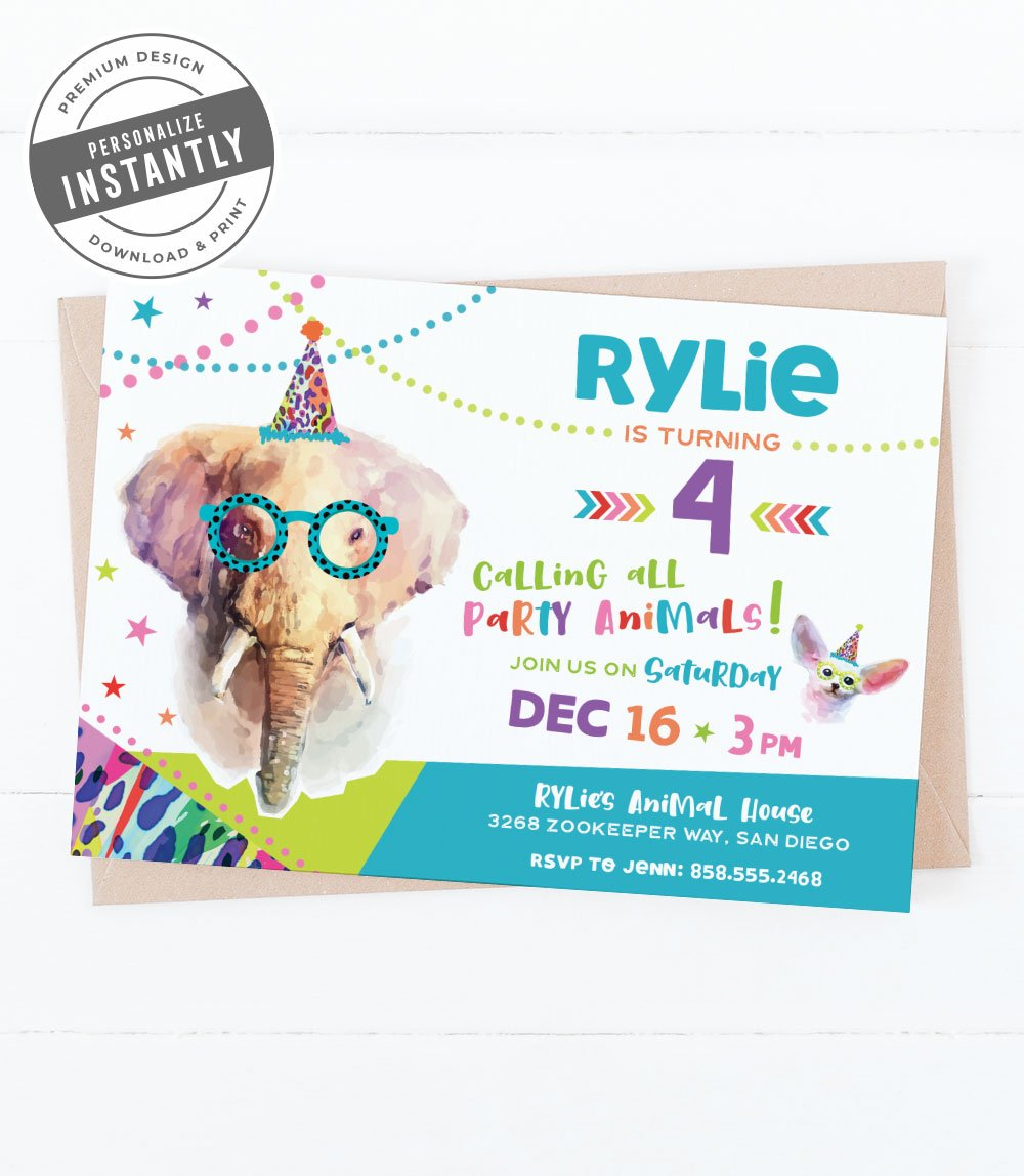 Party Animals Birthday Party Invitation