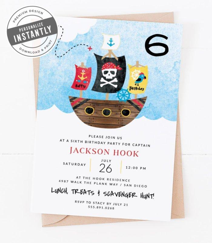 Modern Pirate Birthday Party Invitation