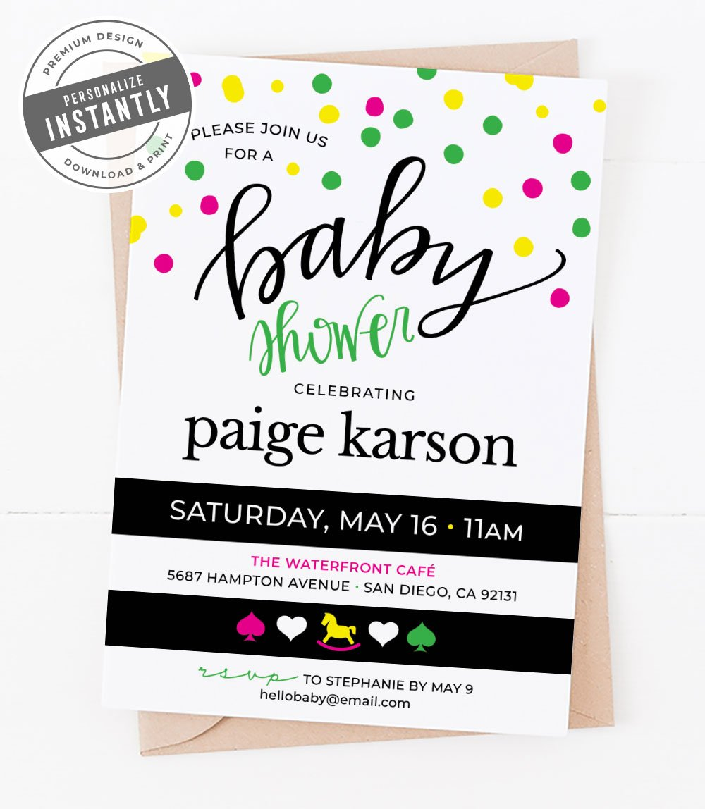 Modern Preppy Baby Shower Invitation