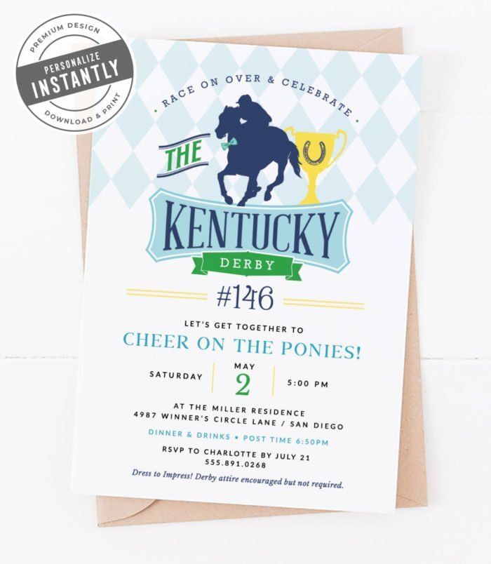 Preppy Kentucky Derby Party Invitation
