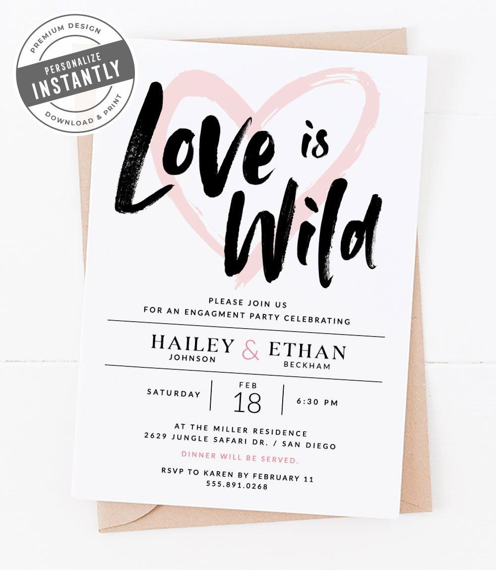 Safari Themed Engagement Party Invitation