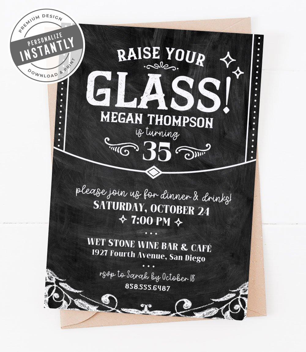 Rustic & Elegant Wine Party Invitaiton