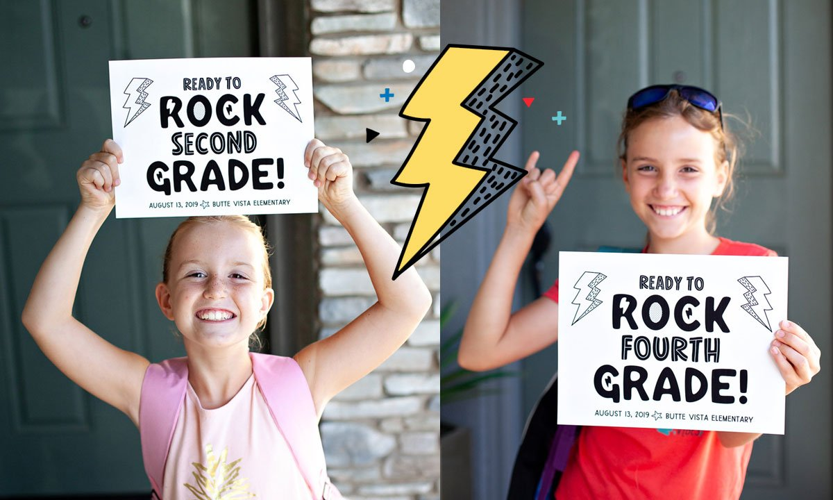 Ready to Rock First Day of School Photo Signs
