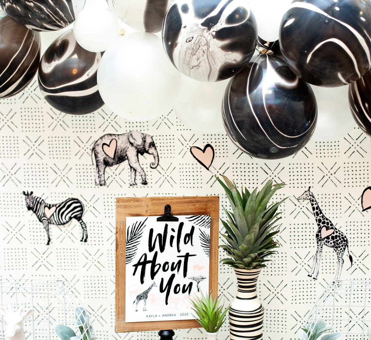 "How to Style a Creative Drink Station + ""Wild About You"" Glam Safari Theme"