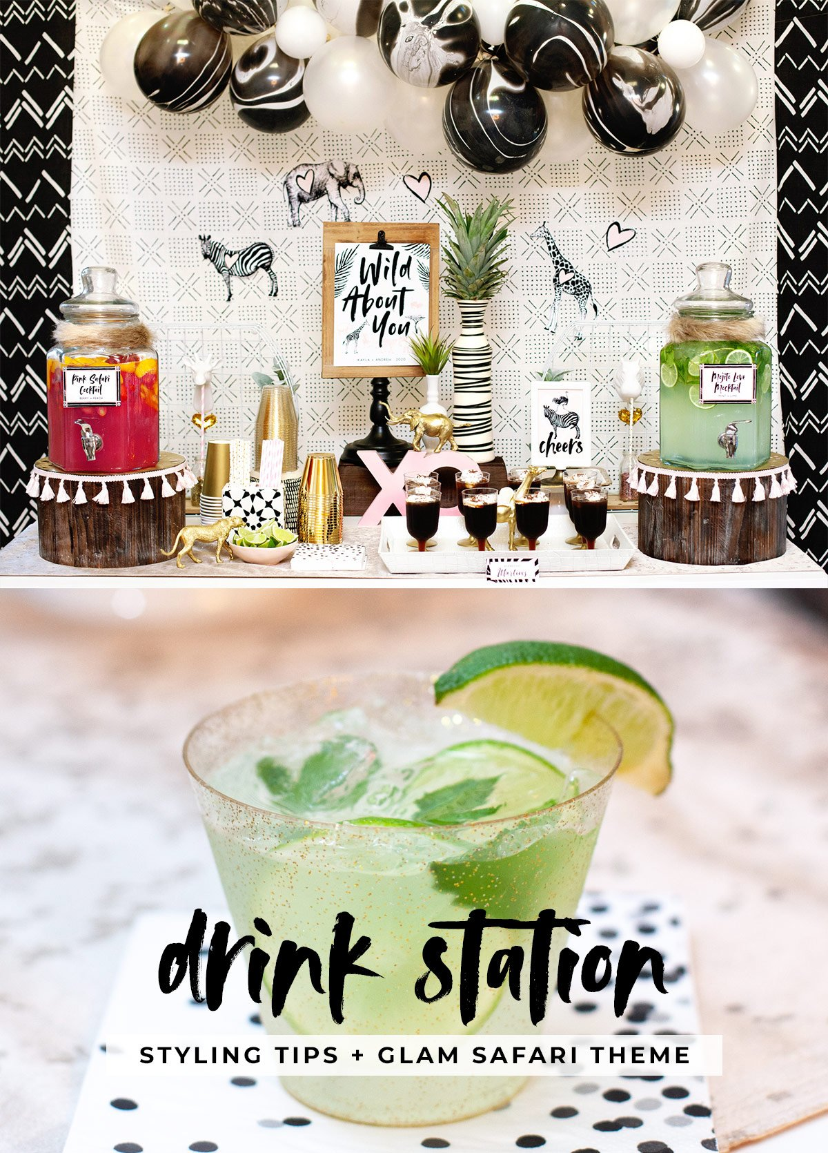 Glam Safari Bridal Shower Drink Station