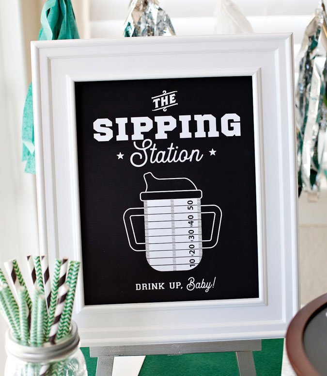 Football baby shower drink station sign