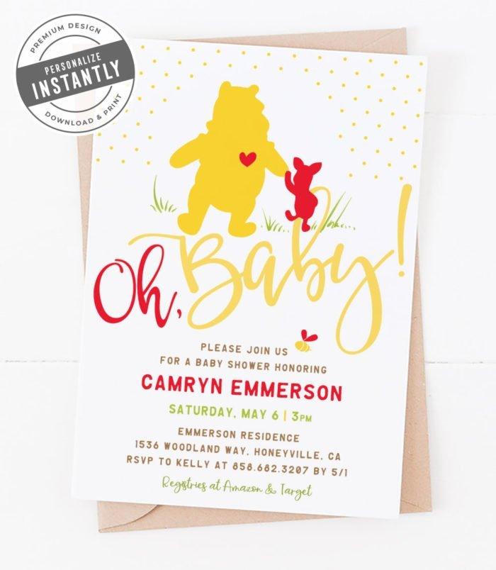 Winnie the Pooh Baby Shower Invitation