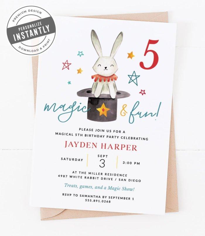 Magic Circus Birthday Party Invitation