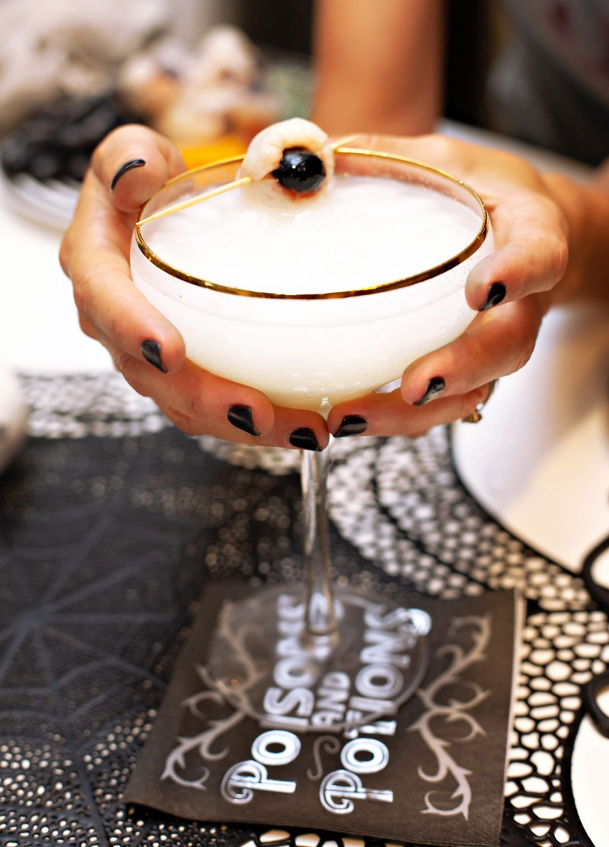 Halloween Cocktail with Eyeball Garnish