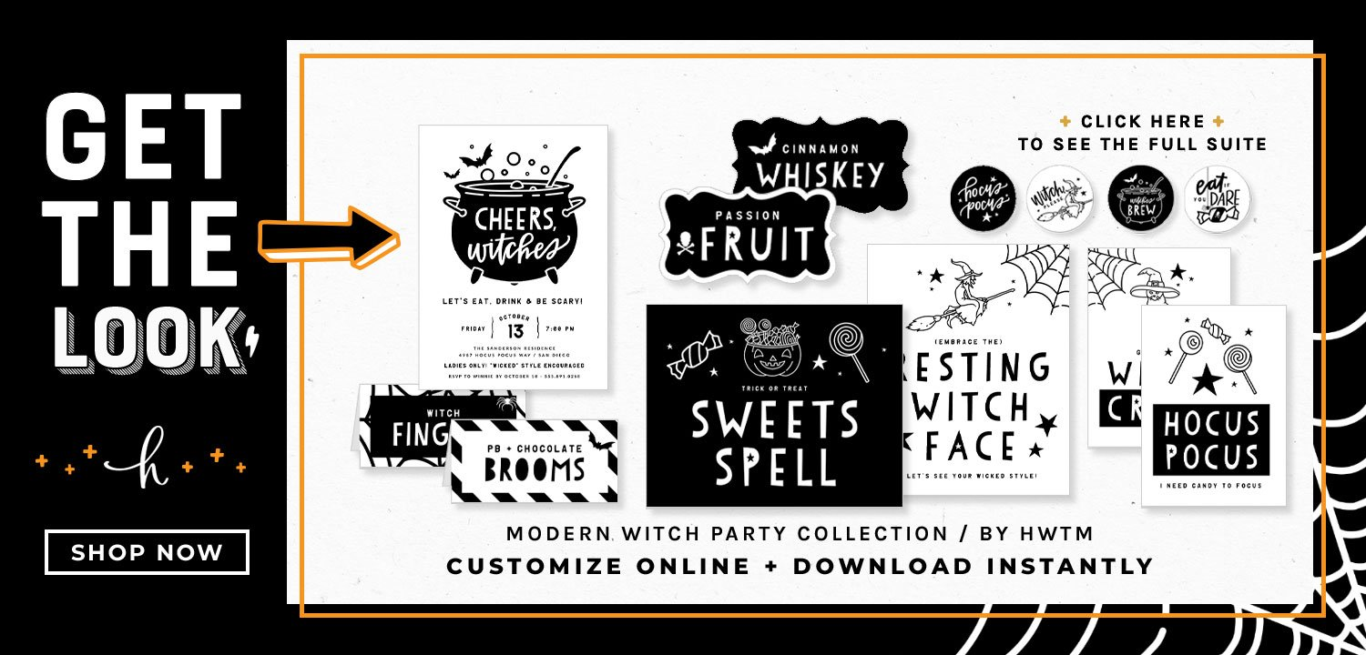 Modern Witch Halloween Party Printables