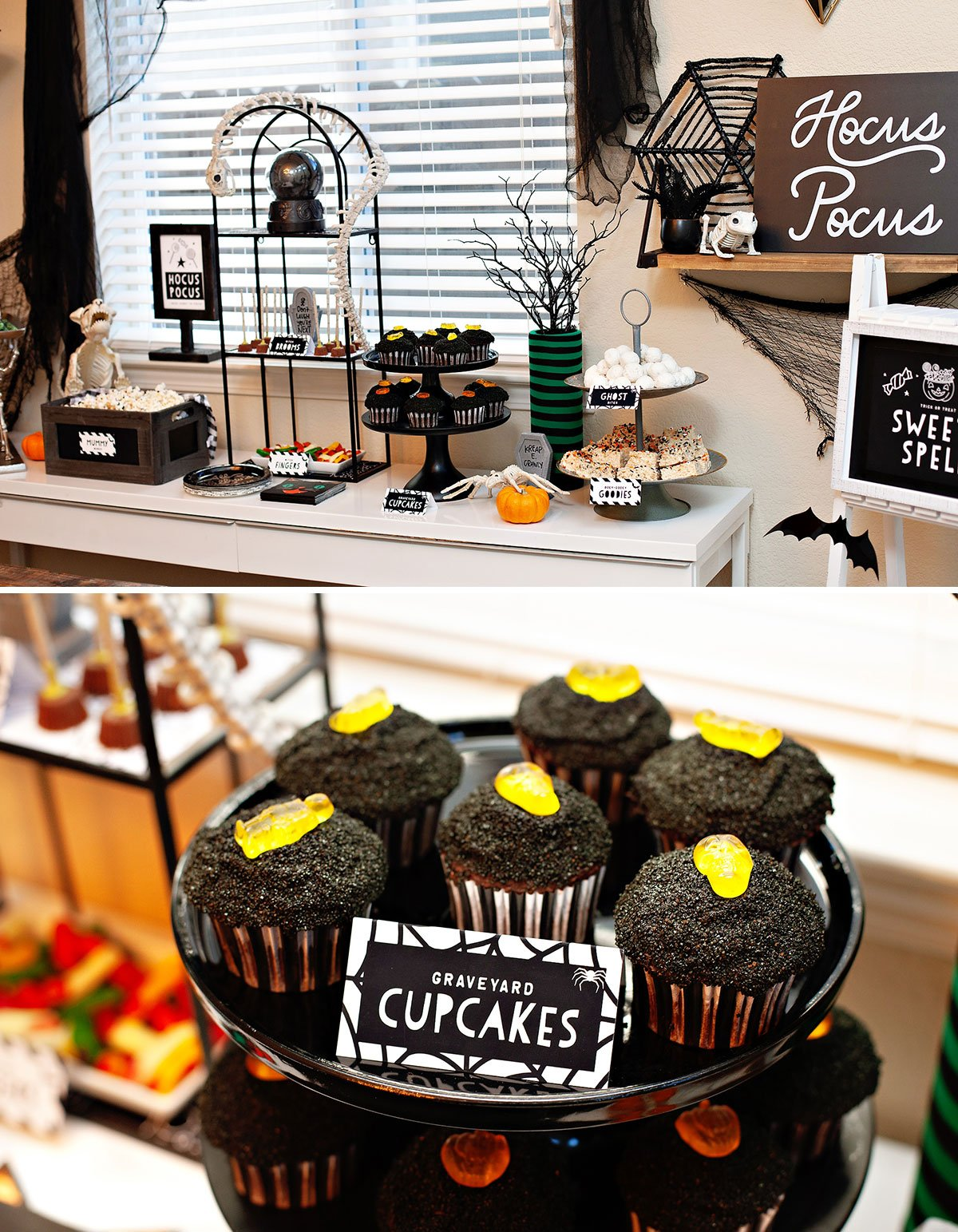 Modern Halloween Dessert Table + Cupcakes