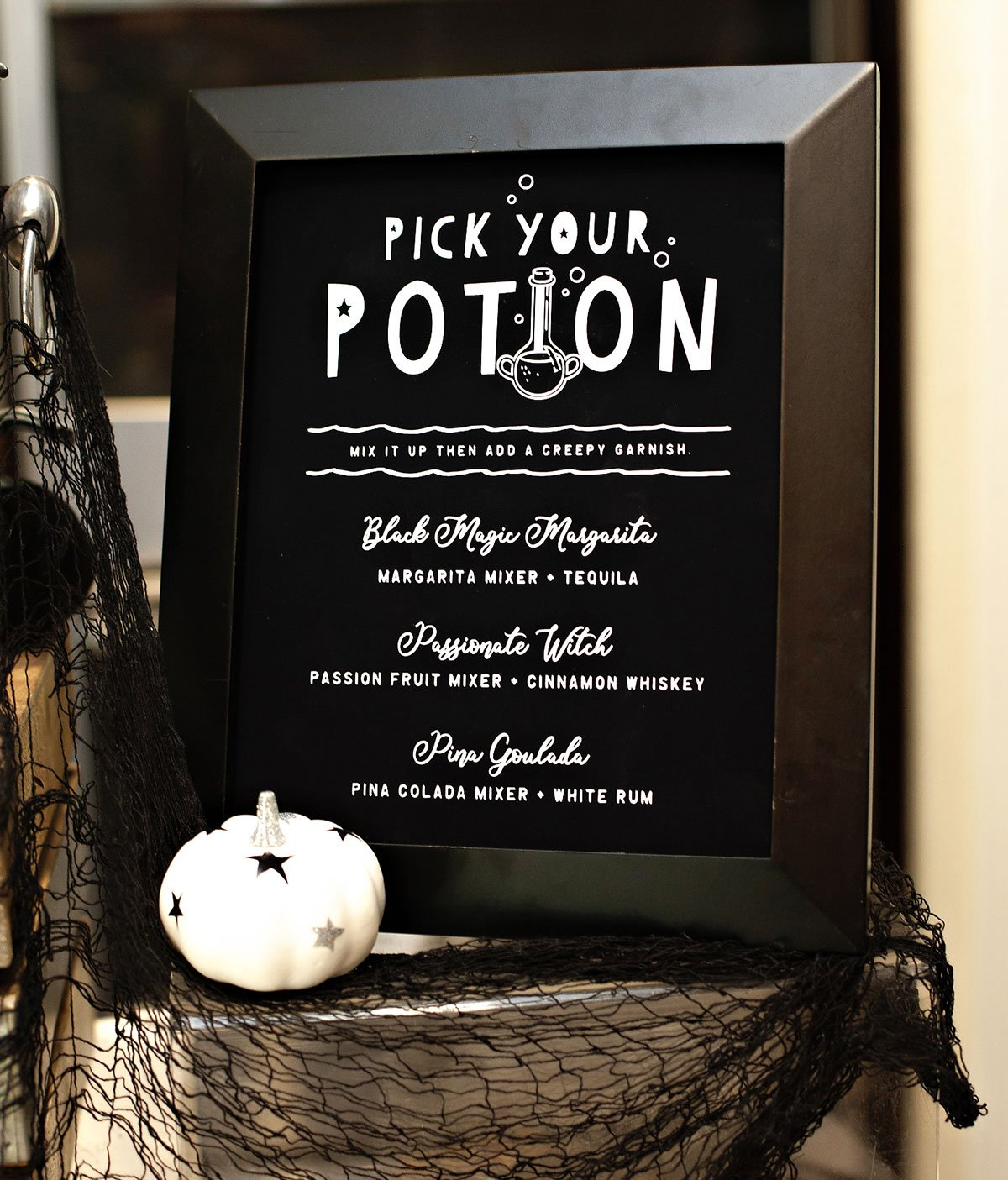 Halloween Pick Your Potion Drink Sign