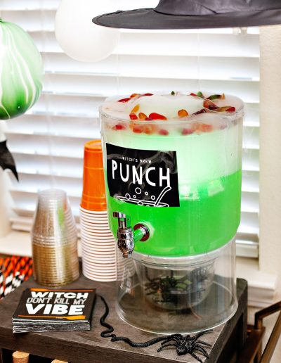 Green Halloween Punch with Dry Ice