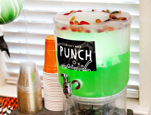 """Witch's Brew"" Sour Apple Halloween Punch"