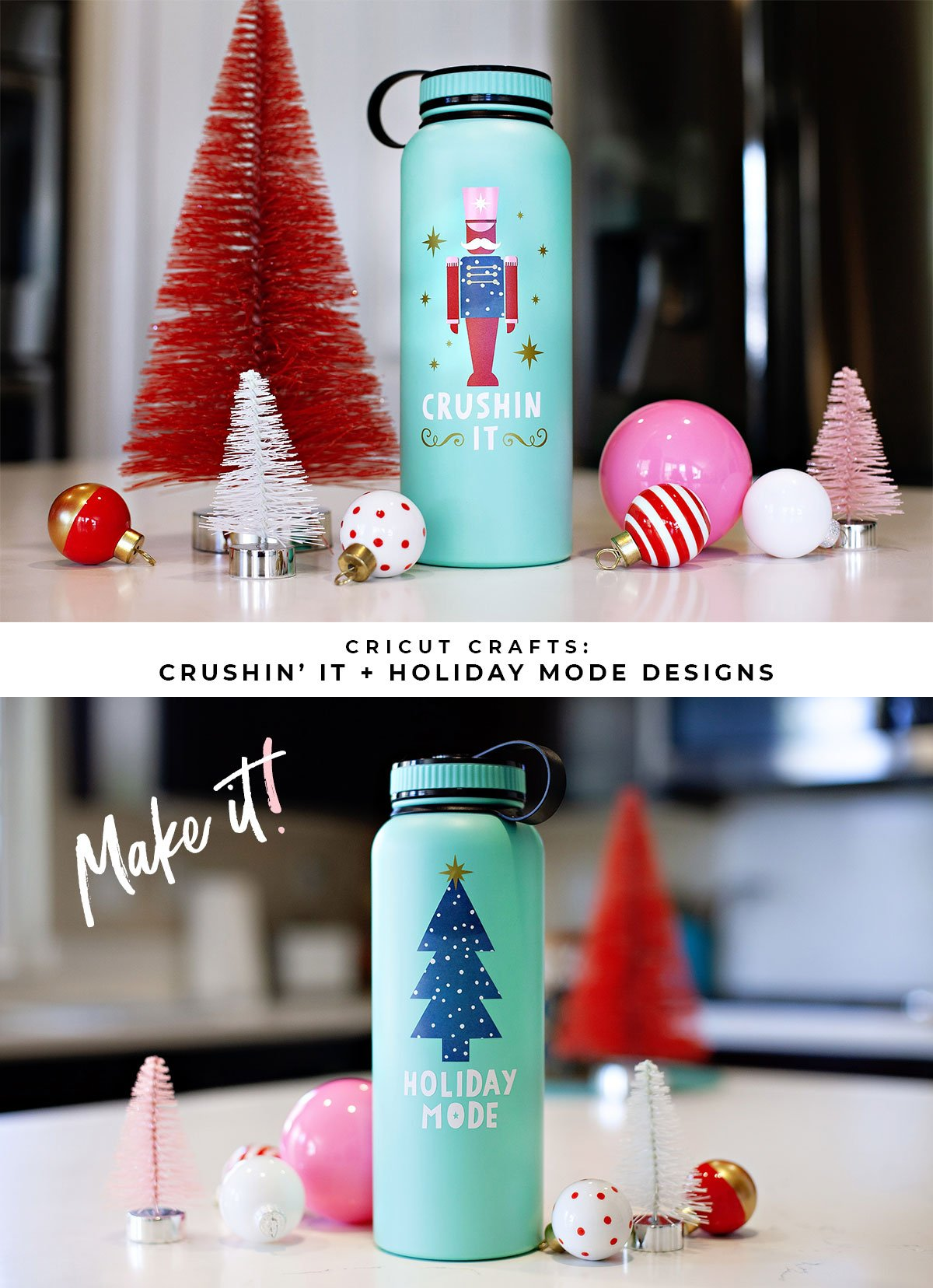 Cricut Holiday Water Bottle Designs