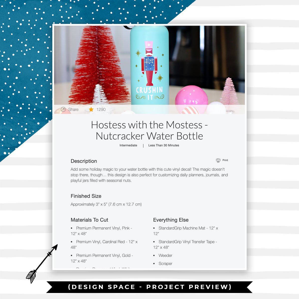 Cricut Nutcracker Water Bottle