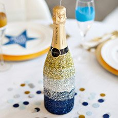 Glittered Champagne Bottle DIY