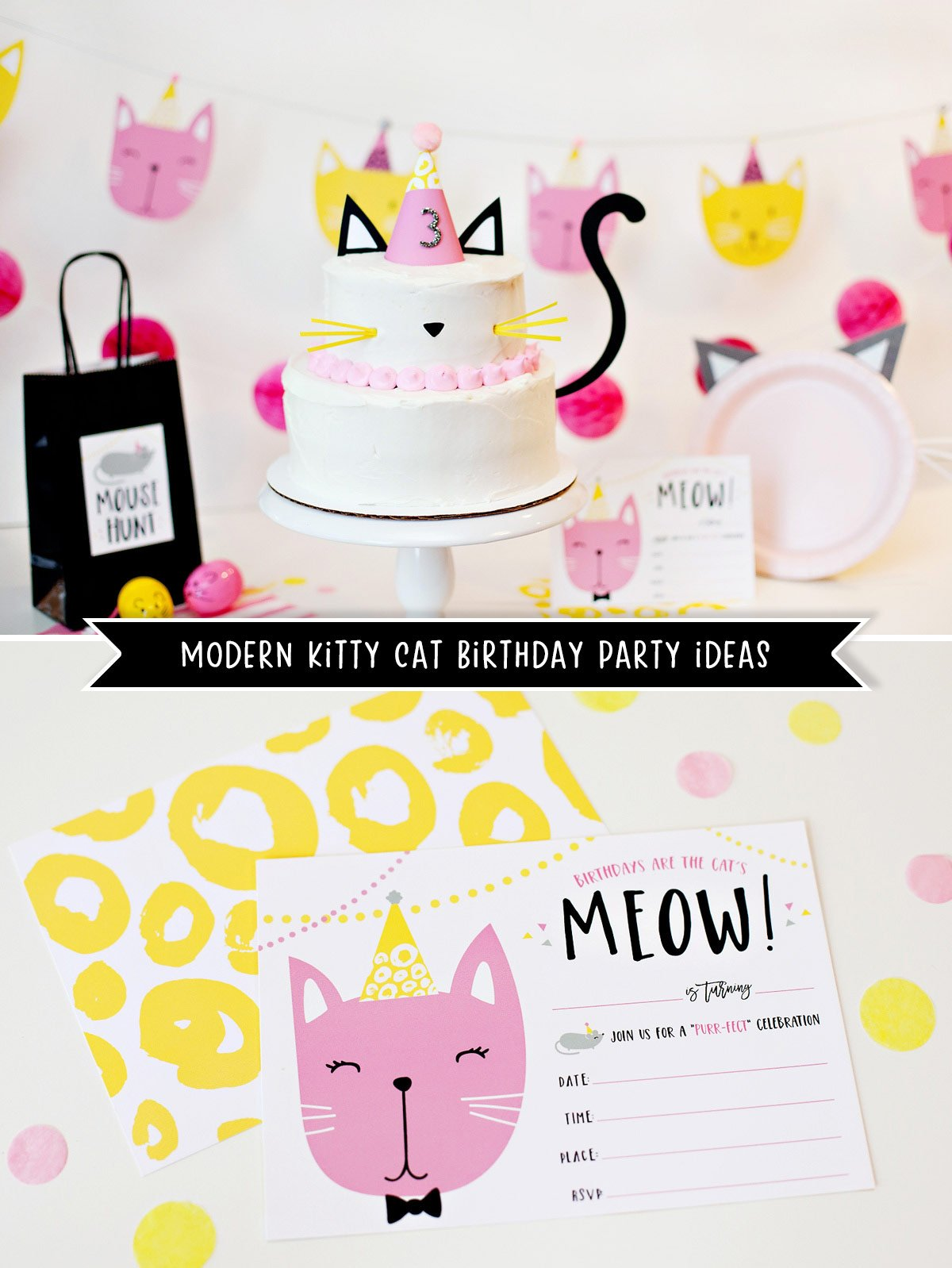 Kitty Cat Birthday Party Ideas and Free Printables
