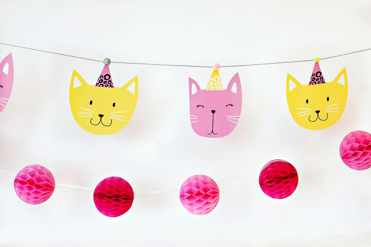 Modern Kitty Cat Party Banner Printable