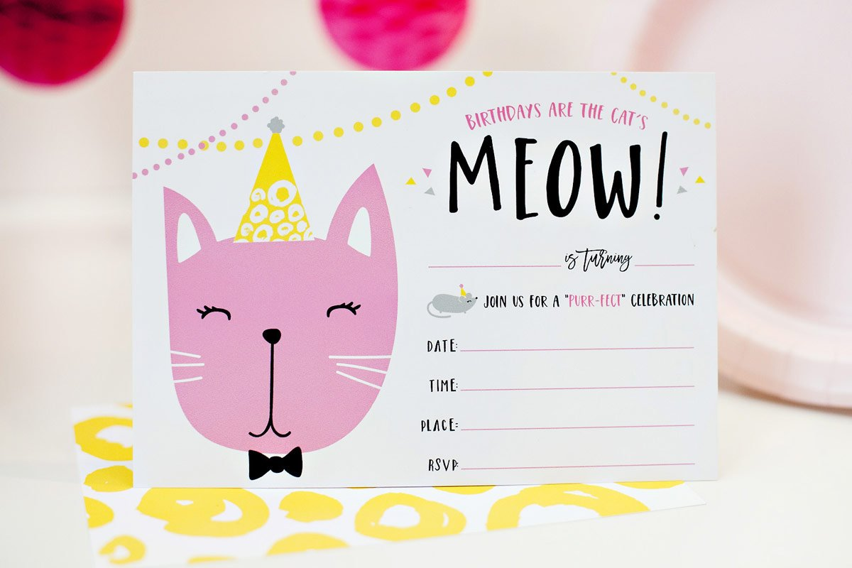 Free Printable Kitty Cat Party Invitation