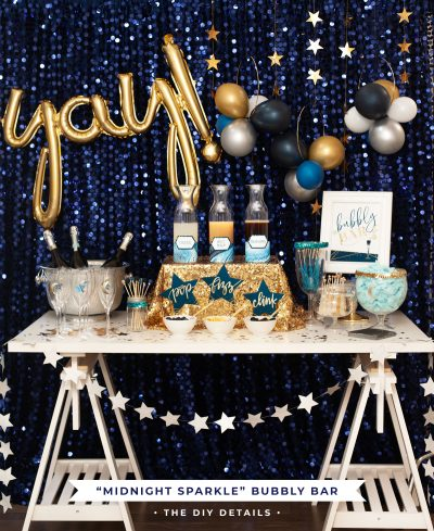 Navy & Gold Champagne Bubbly Bar