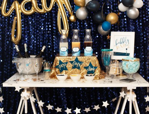 "How to Style a ""Midnight Sparkle"" Bubbly  Bar"