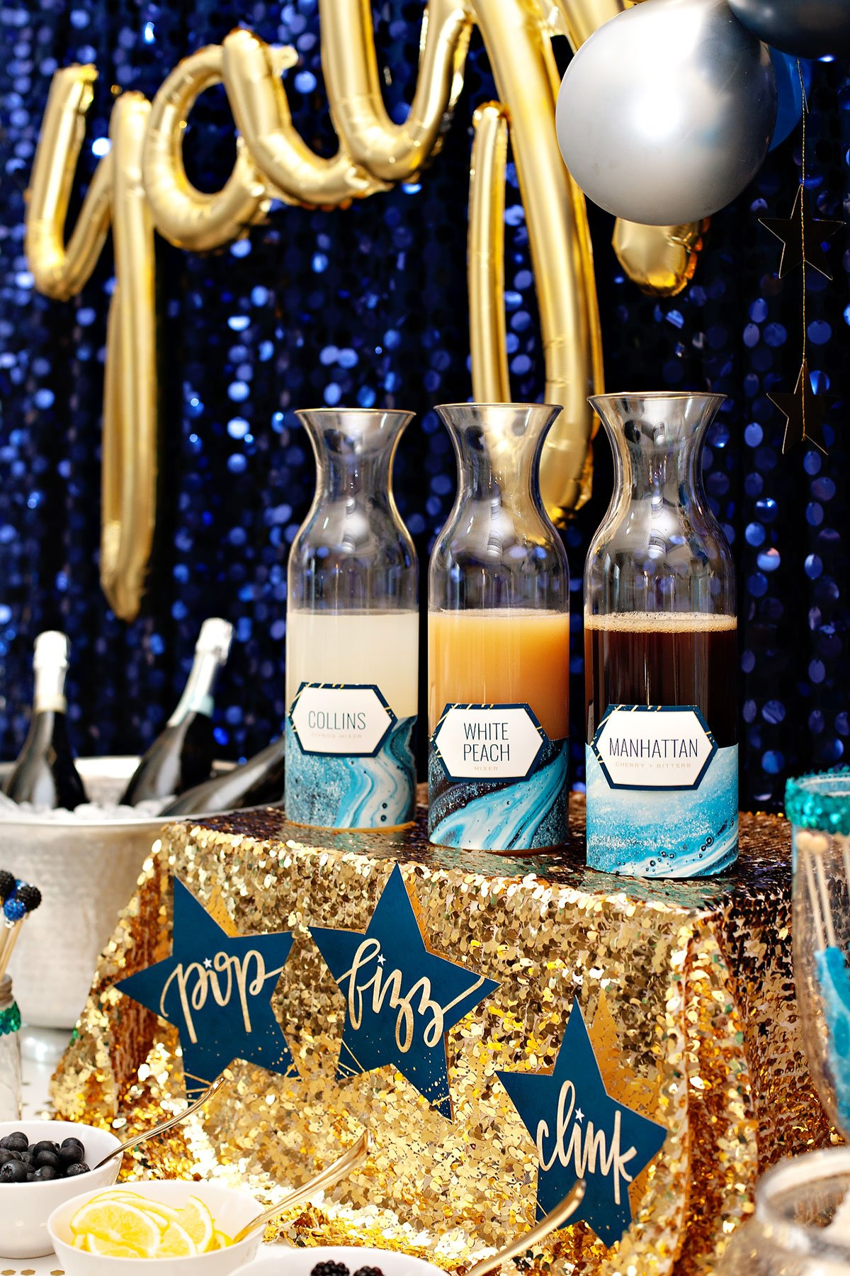 Bubbly Bar Mixers in Carafes