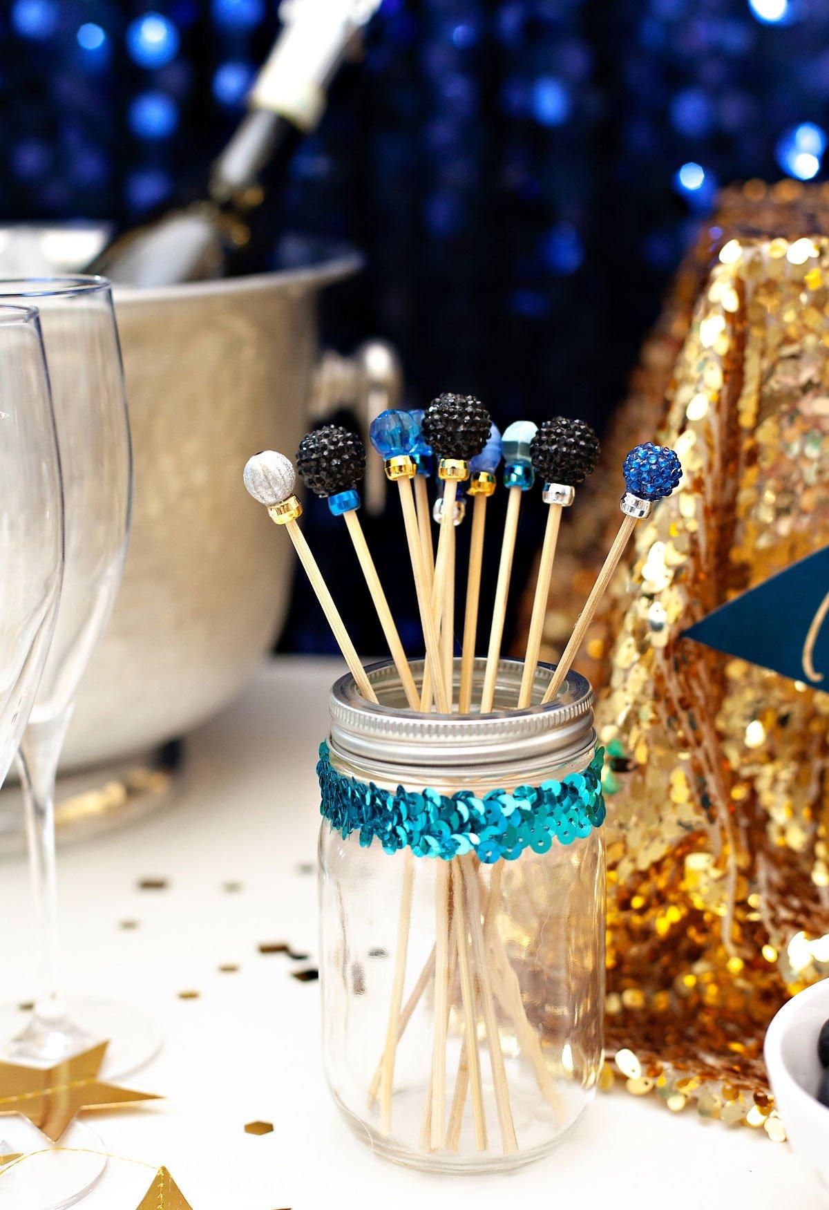 champagne bar drink stirrers diy
