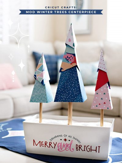 Modern Holiday Paper Trees Centerpiece