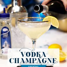 Vodka Champagne Cocktail with Lemon
