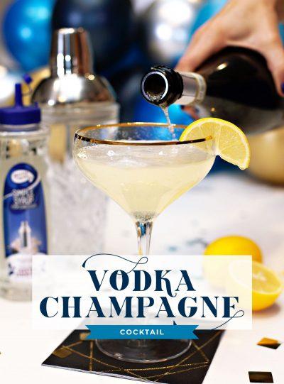 Vodka Champagne Cocktail with Lemon