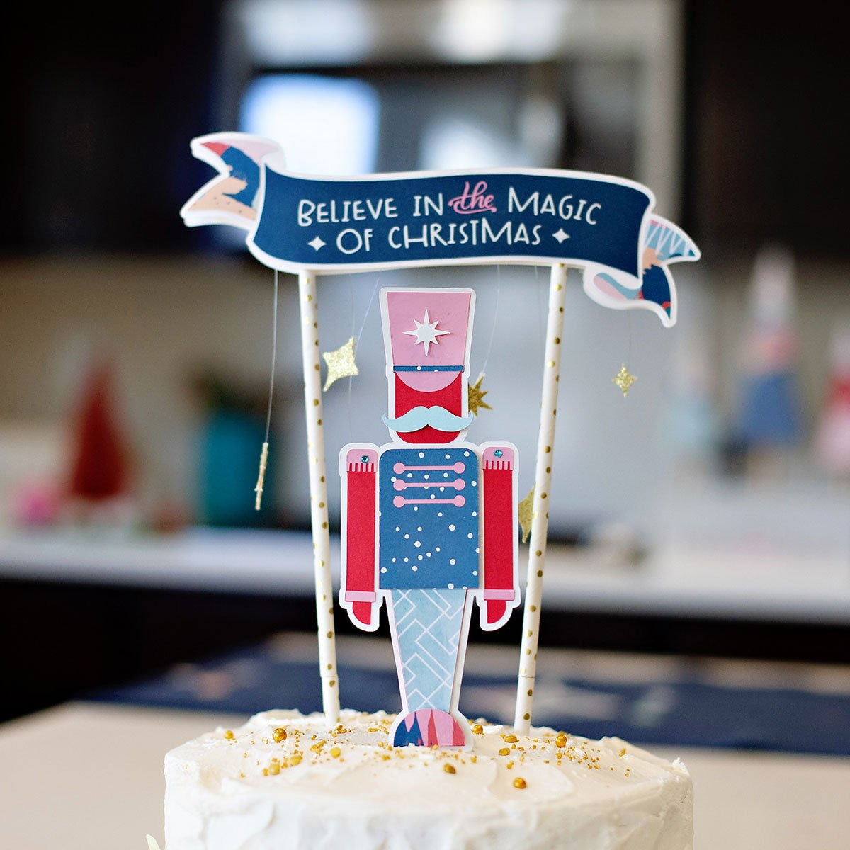 DIY Christmas Cake Topper Idea for Kids