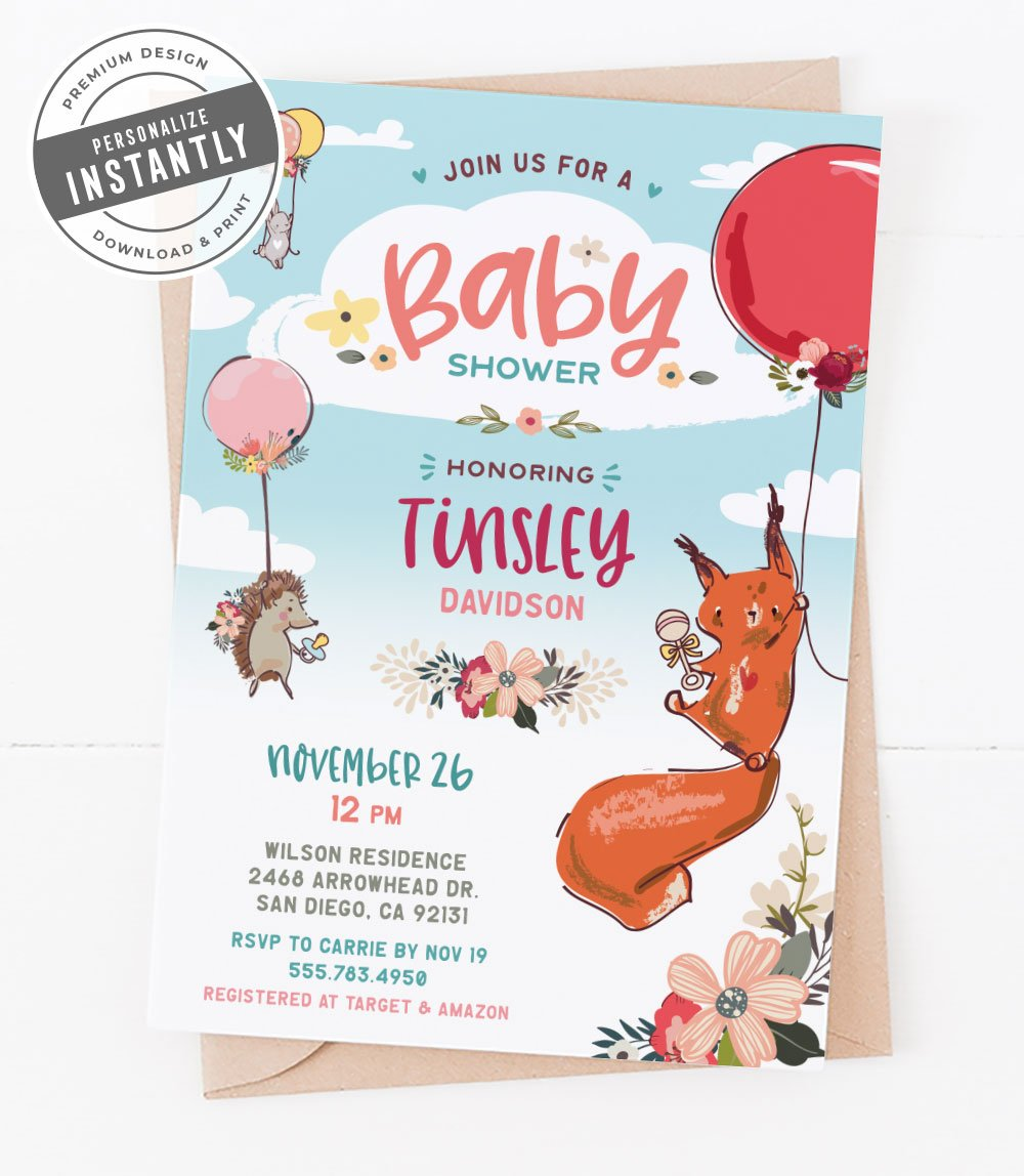 Animals & Balloons Baby Shower Invitation