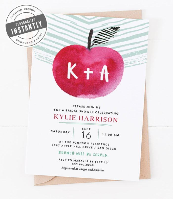 Apple of My Eye Bridal Shower Invitation
