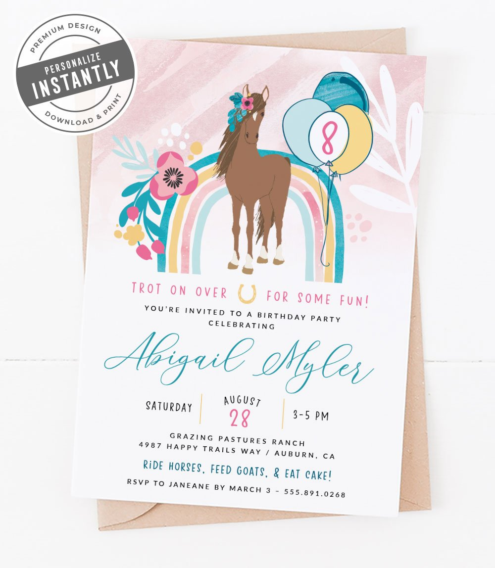 Flowers & Horses Birthday Party Invitation