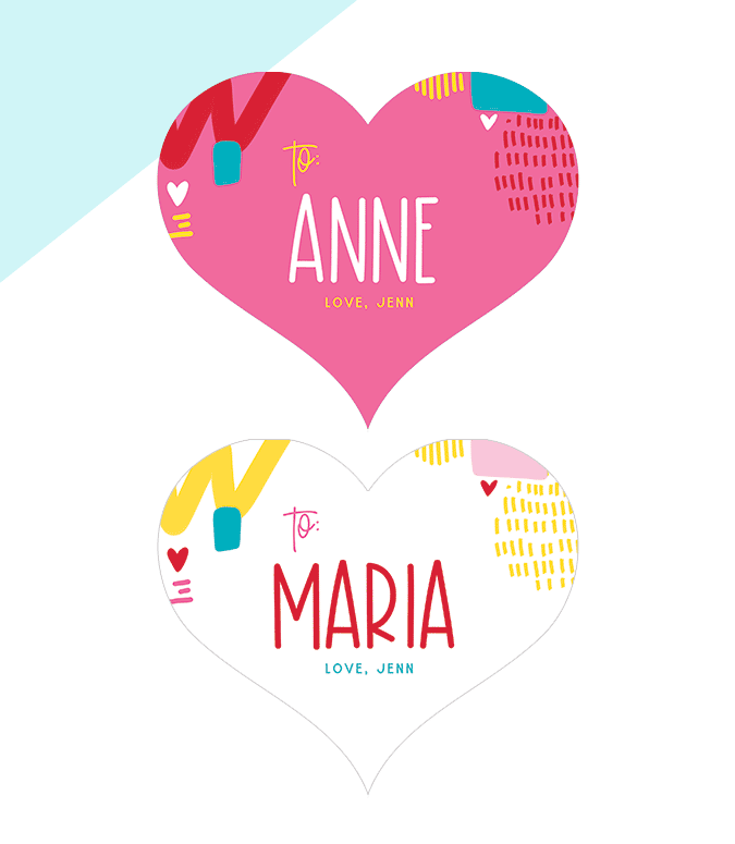 Valentine Heart Name Tags