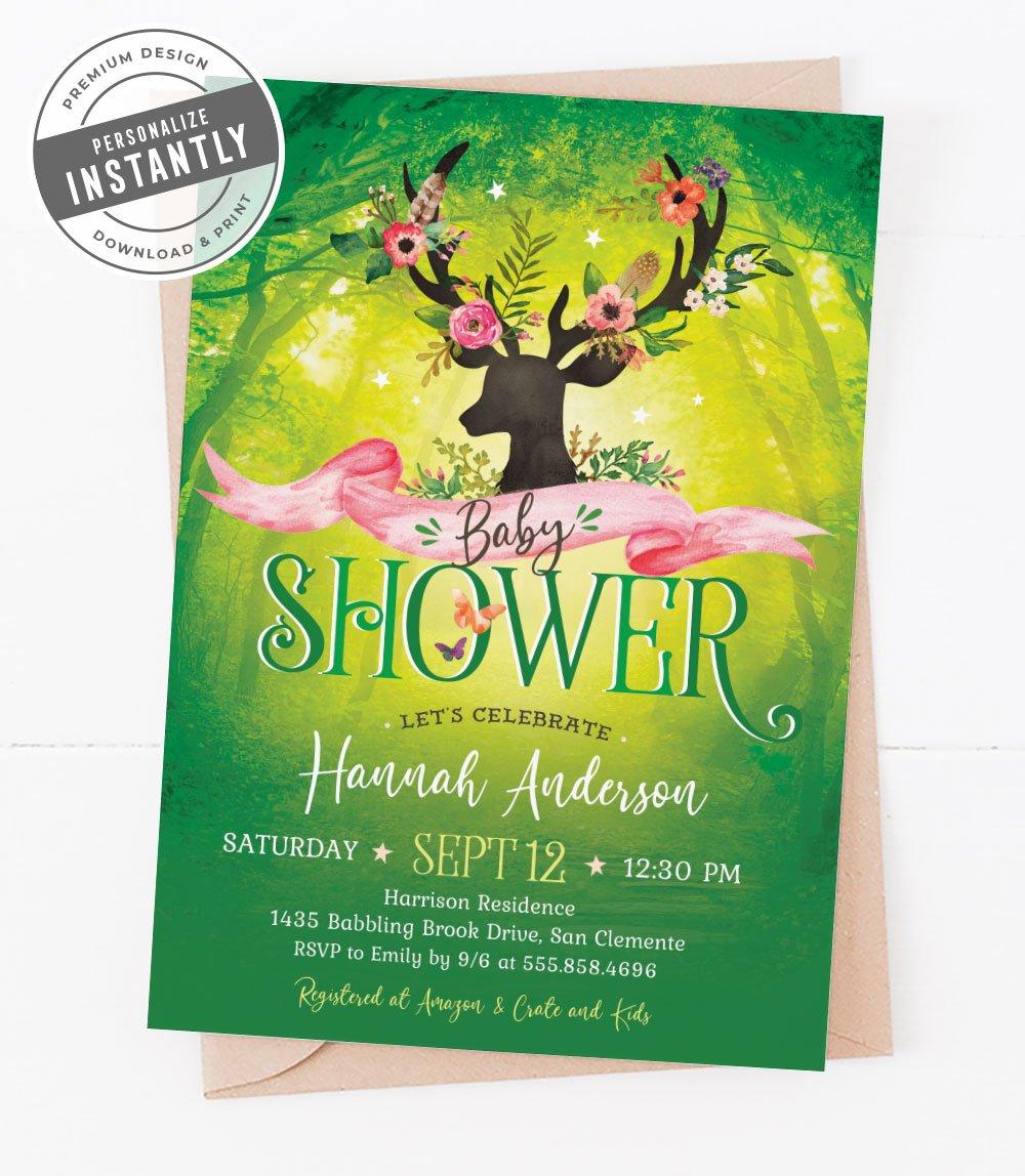 Woodland Glam Baby Shower Invitation