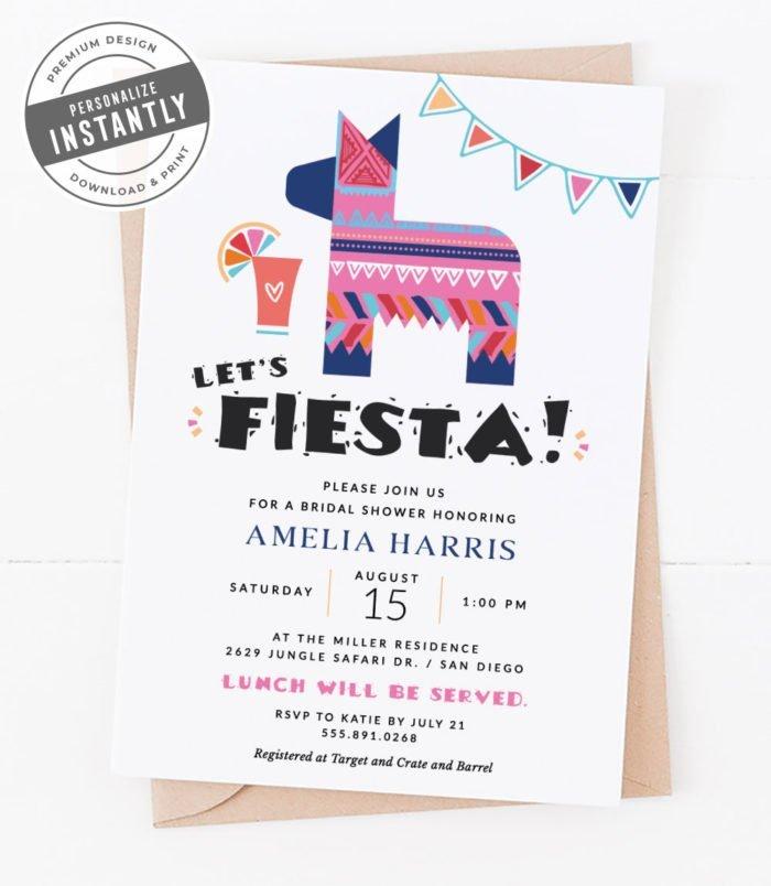 Modern Fiesta Bridal Shower Invitation